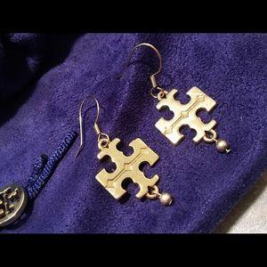 Tory Burch Gold-Tone Logo Dangle Earrings